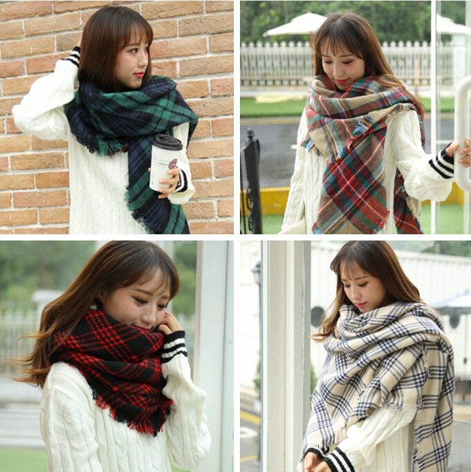 2015 New Style Plaid Winter Warm Squre Scarf Shawl for Women