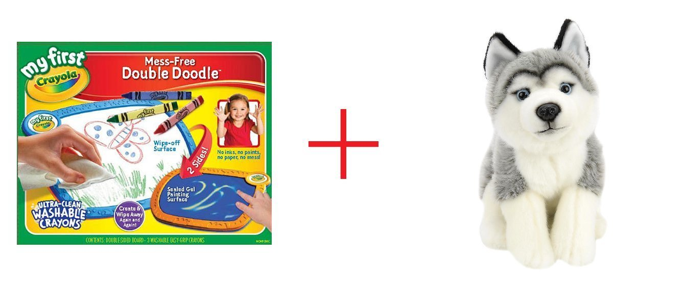My First Crayola Double Doodle Board and Toys R Us Plush 10 inch Husky - Gray and White - Bundle