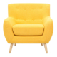 Modern Upholstered Tufted Fabric Accent Chair, Tub Armchair with wood legs Wood arm Wing Back Chair