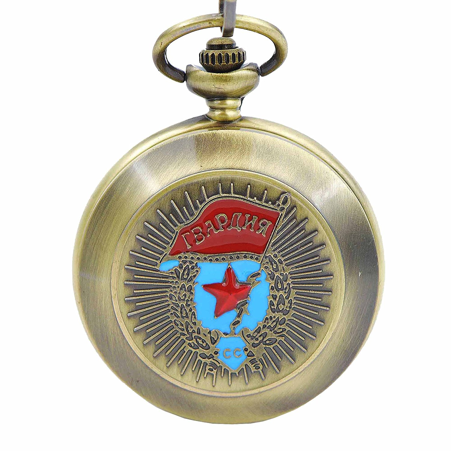 Timeconcept Newest Antique Mechanical Hand-Winding Russia Style Cartoon Bronze Tone Case Mens Pocket Watch With Chain