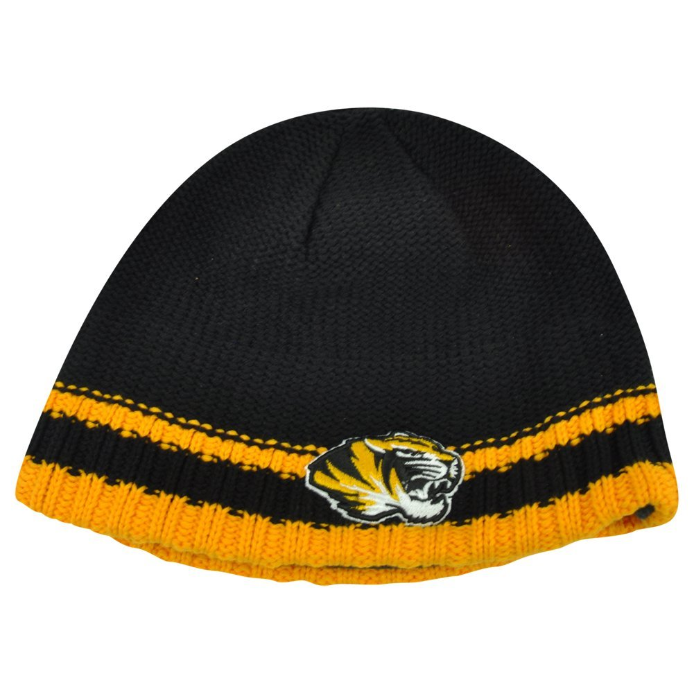 28482499c7b Get Quotations · NCAA Missouri Mizzou Tigers Striped Fleece Cuffless Knit  Beanie Winter Hat Toque