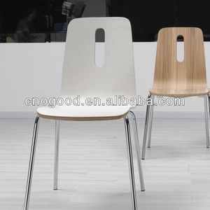 plywood beautiful bending steel tube leg dining chair