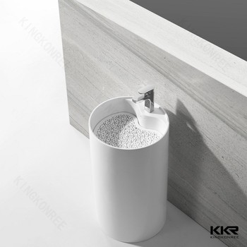 Kkr Solid Surface One Pieces Double Bowl Bathroom Vanity Sink With - One piece bathroom sink faucet