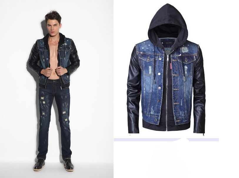 Cheap Denim Jacket Leather Sleeves Mens, find Denim Jacket Leather ...