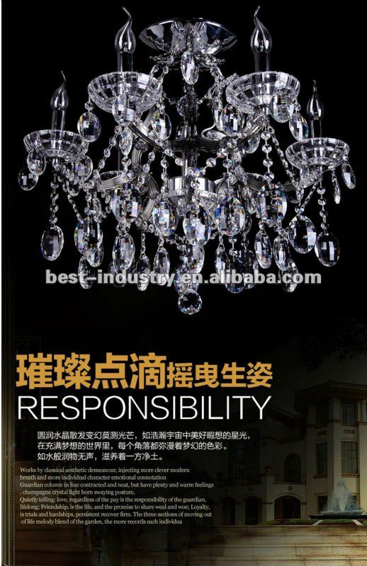 2012 empire style chandelier wedding decoration,acrylic pendant chandelier for hotel/home decor, Zhongshan Meerosee Lighting
