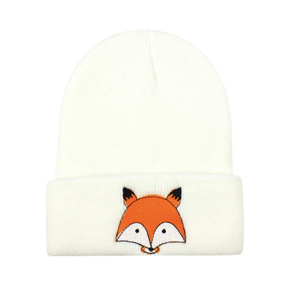 b79576557f1 Get Quotations · Suma-ma Fashion Fox Warm Winter Knitted Wool Hemming Hats  Caps for Baby Children (