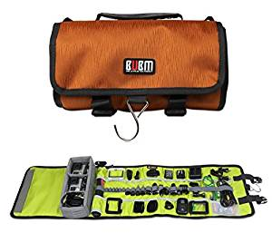 BUBM Large Canvas Travel Roll Bag Camera Rollup Protective Case for GoPro Hero4/3+/3 sj4000 , Camera Accessories Rollup Shoulder Bag for GoPro Cameras and Accessories