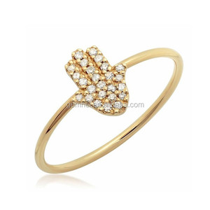Chamsa diamond ring silver cz ring ladies gold ring palm designs for woman
