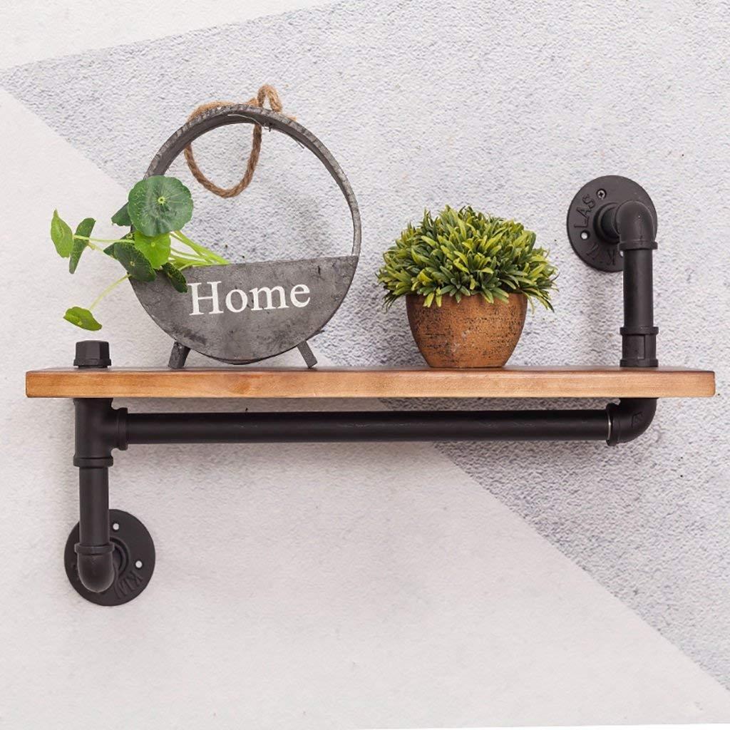 Gspsgj Industrial Wind Wrought Iron Plumbing Shelf, Wall Racks, Wall-Mounted Living Room Bedroom Wall Solid Wood Shelf