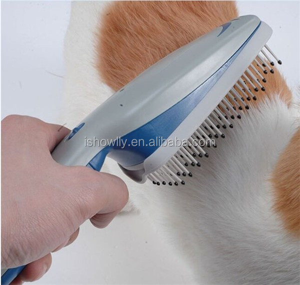 Pet grooming dog ionic cleaning brush with 9v battery