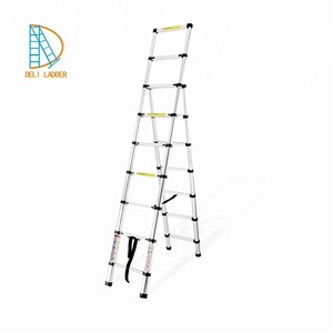 2m+2.6m Aluminum Double Unequal Telescopic Stairs A Frame Aluminum telescopic ladder with en131, SGS, OEM