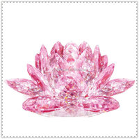 Romantic Crystal Pink Lotus Paperweight for Table Favor