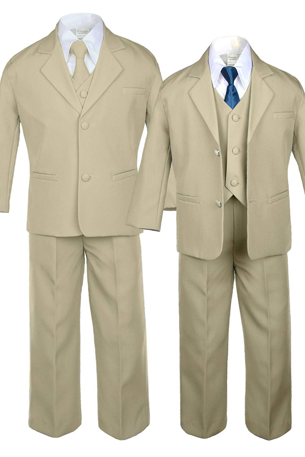 117e43dca4e2 Get Quotations · 6pc Boy Khaki Vest Set Formal Tuxedo Suits with Satin  Green Teal Necktie Baby to Teen