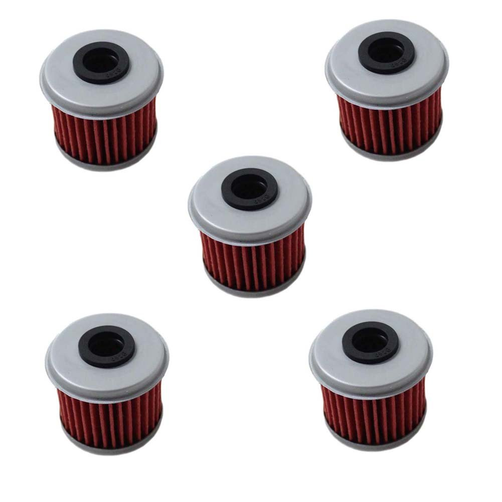 Poweka New Pack of 5 Oil Filter fit For Honda CRF150R CRF250R CRF250X CRF450R CRF450X Motorcycle Replace HF116 & KN116