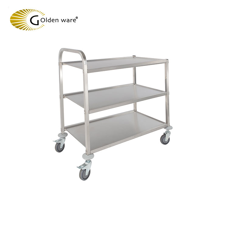 Golden Ware Hotel equipment Stainless Steel Housekeeping Room Service trolley