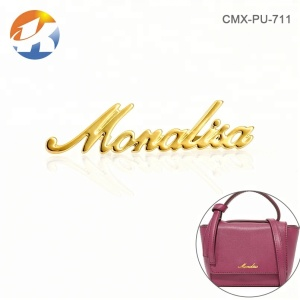 Fashion Gold Letters Metal Plate Logo For Handbag