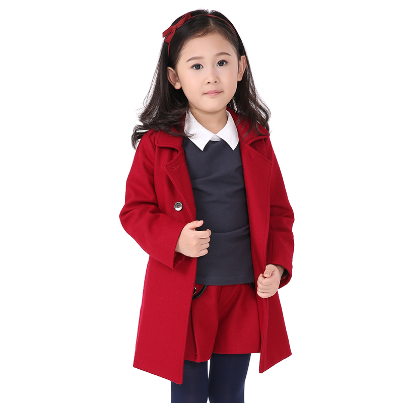 New Design Kids Wear Long Coat Child Outerwear With Belt On Back ...