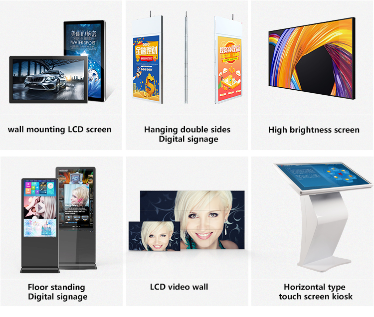 49 インチぶら下げ超薄型液晶の android デュアルスクリーンメディア広告プレーヤー