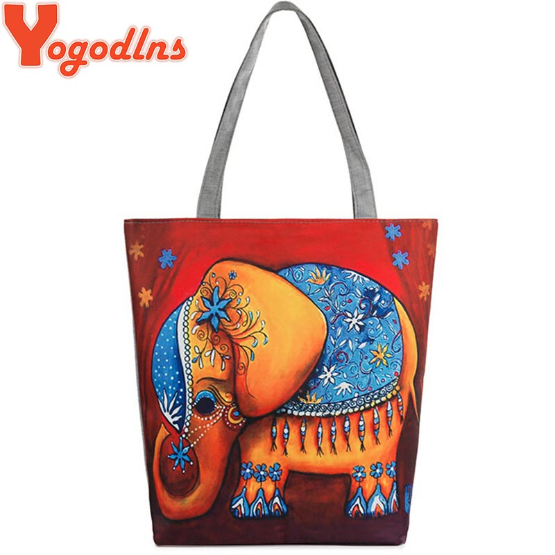 2016 Canvas Handbags new fashion Women Canvas Bag Shoulder Bags high quality Cartoon Elephant Ptinted <strong>totes</strong>