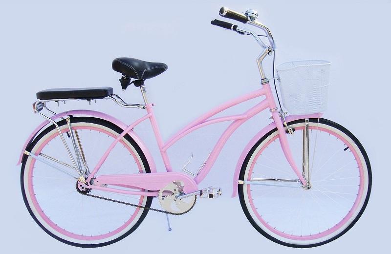Girl Beach Crusier Bike Pink Beach Bike Basket Beach Cruiser