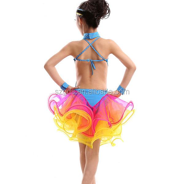 De alto nivel de los niños la competencia profesional de baile latino traje  para niñas brillante 8ec3a6aac4a
