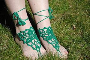 Green Wedding Sandals,Wedding Accessory,Sexy Beach Sandals, Crochet Barefoot Sandals, Barefoot Sandals , Crochet Anklet, Sexy Lace Sandals,Beach,Wedding Footwear, Bridesmaid Sandals (Green-04)