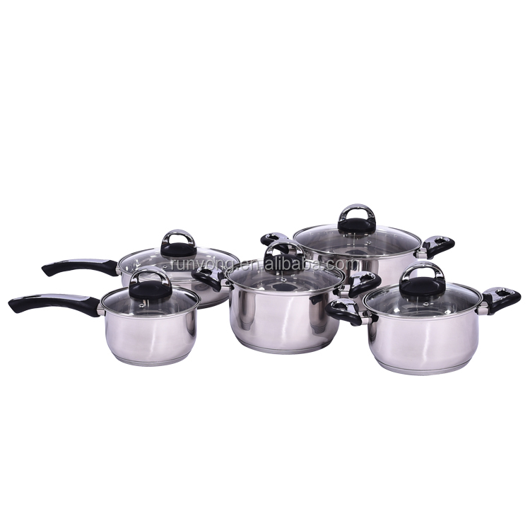 2017 New Customized Stainless Steel Cheap Price Wholesale Bakelite Handle 10 PCS Induction Cookware Sets with Lid