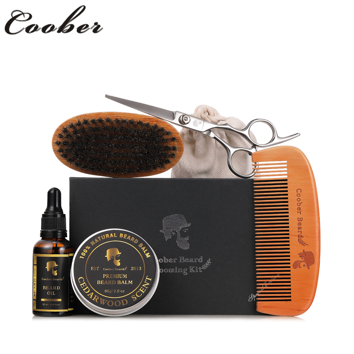 top quality OEM professional personal beard care gift set beard grooming kit with 6pcs