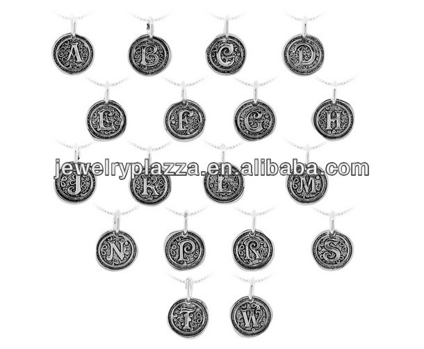 Sterling Silver Round Coin Oxidized Initial Monogrammed Charms Necklace