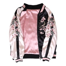 Autumn Fashion Women Floral Embroidery Long Sleeve Casual Satin Jackets Pink Bomber Coat