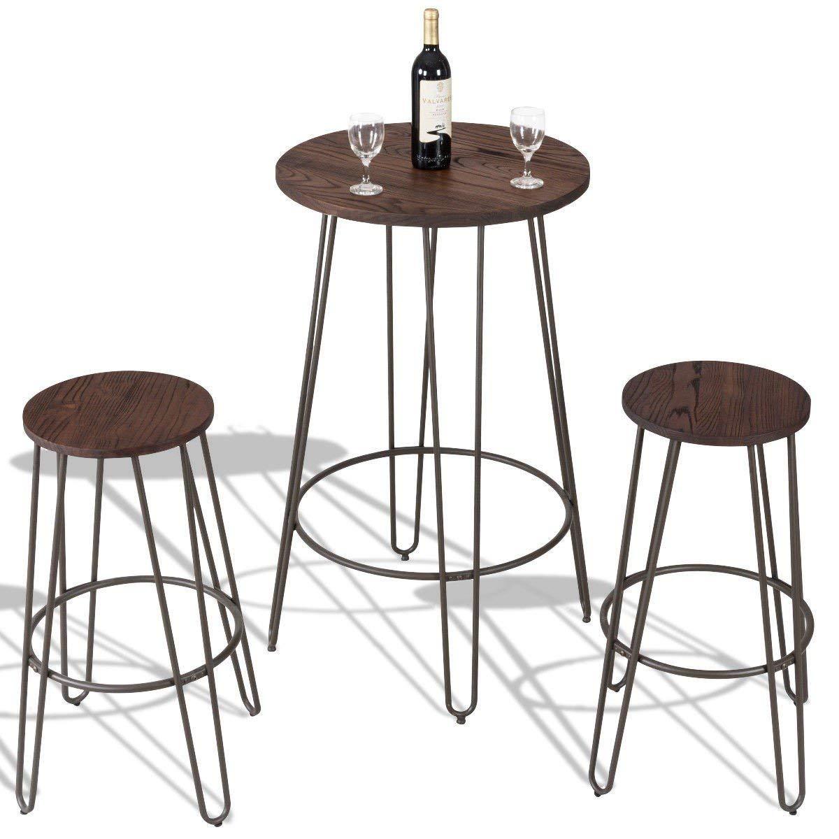 MyEasyShopping Wood Round Bar Table Bistro Stool Set Bar Set Round Table Bistro Stools Furniture Pub Breakfast Kitchen