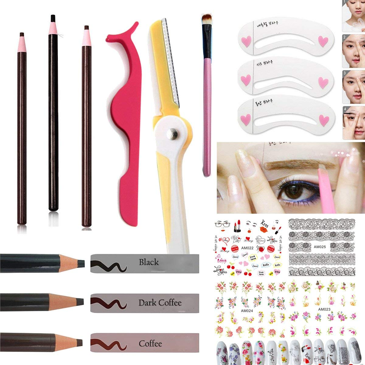 Eyebrow Makeup Kit Set:3PC Waterproof Eyebrow Pencils Black Brown Dark Coffee,1PC Eyelash Extensions Tweezers Eyebrow Trimmer Makeup Brushes Eyebrow Stencils,4PC Nail Stickers (LOHSET006A)