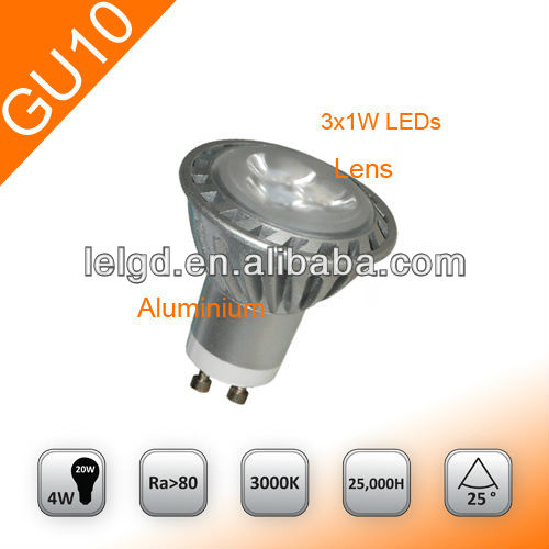 LED Spotlight GU10 Aluminium Housing 3*1W High Power Led Lamp for Home CE&RoHS Approved