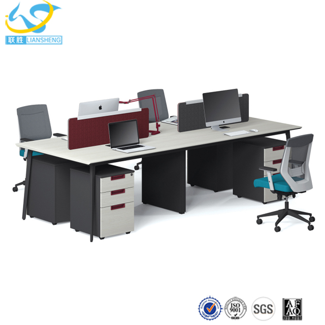 Aluminum frame office workstation partition, modern luxury executive 4 seater office desk