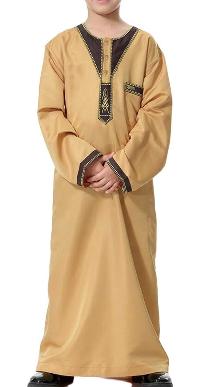 Zhuhaitf Kid Boys Thobe Abaya Middle East Dishdasha Arabic Muslims Dress Clothing