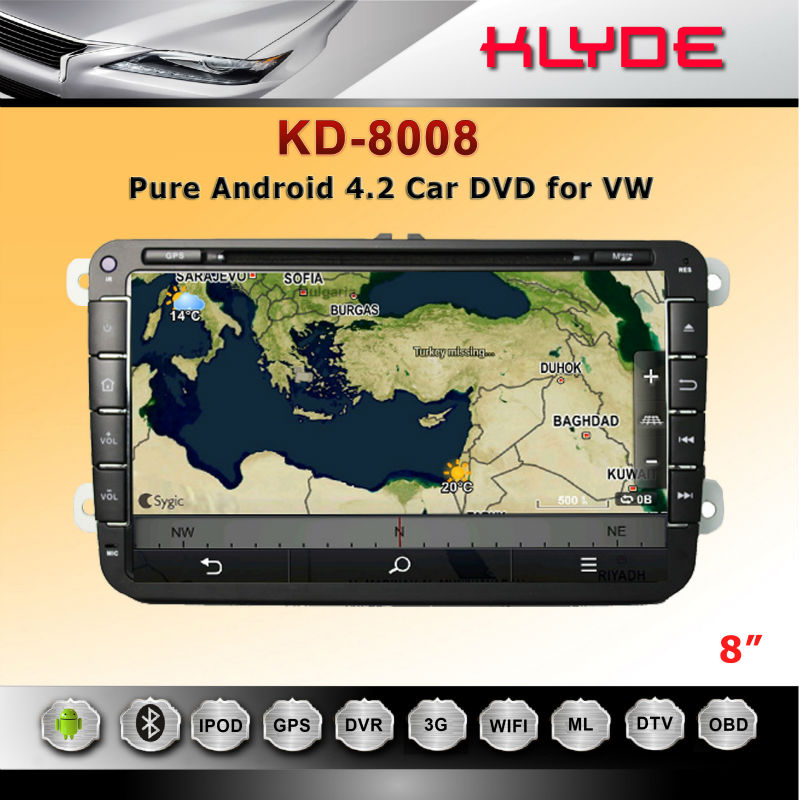 Pure Android!! For Passat DAB Radio Car DVD Player 2 Din Car Audio Cheap