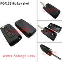 Good price remote flip car key case fob for peugeot 206 key blank 2 button