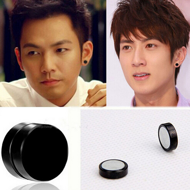 2sets Anium Steel Mens Women Trendy Round Magnetic Clip Black Stud Earrings Magnet Magic