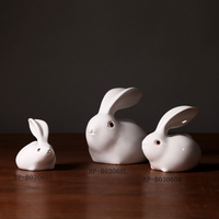 Adorable home accessories decorative polyresin white rabbits