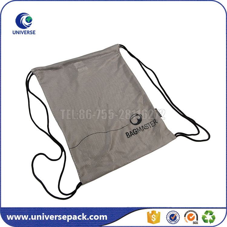 Eco-friendly Grey Mesh Backpack Drawstring Bag With Custom Logo