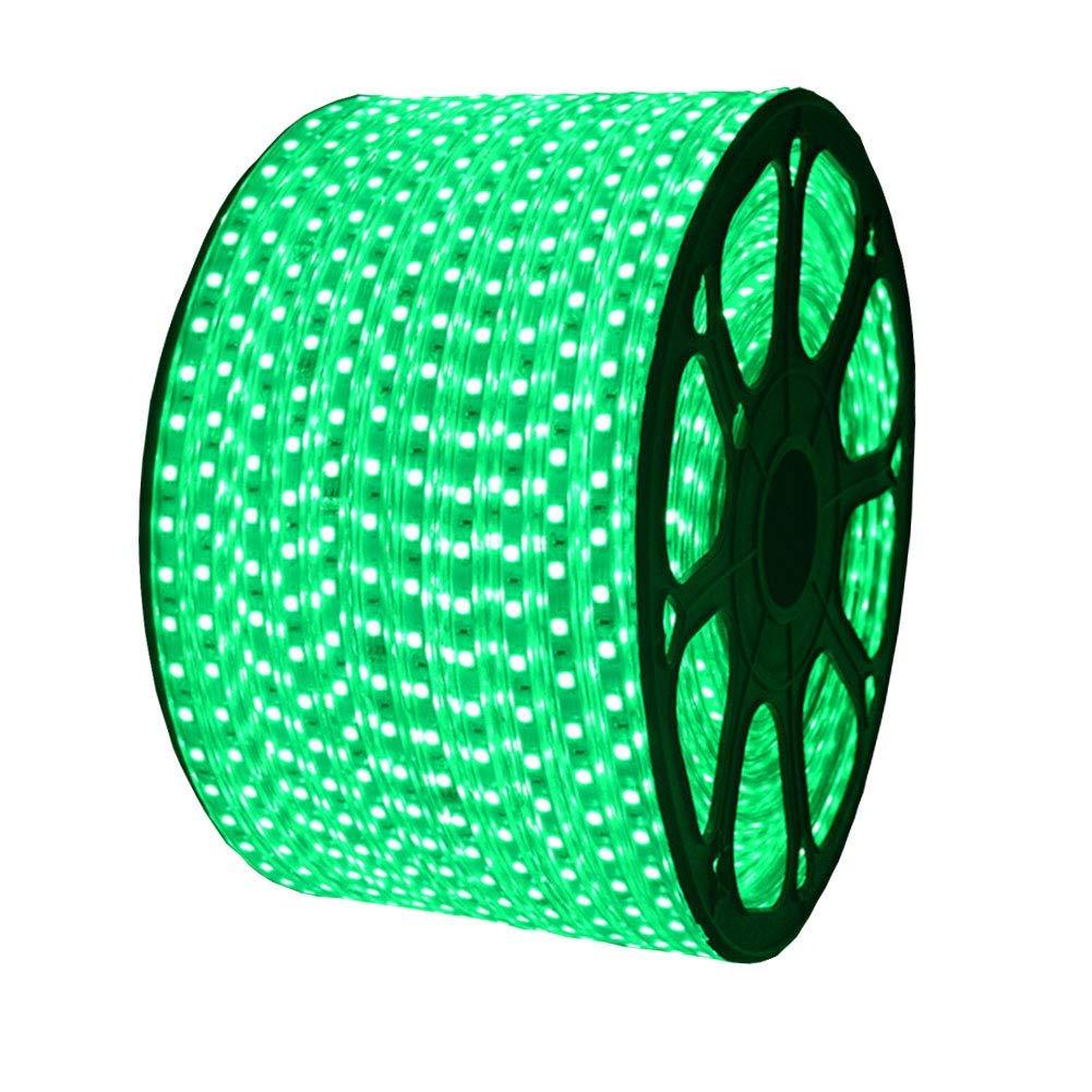 XUNATA AC 110-120V Flexible LED Strip Lights, 60 LEDs/M Waterproof 5050 SMD LED Rope String Light for Christmas Home Decoration (66ft/20m,Green)