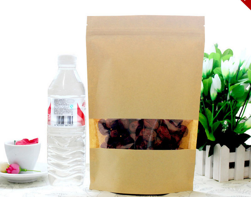 Wholesale cheap price zip lock 100 piece kraft bag with clear window