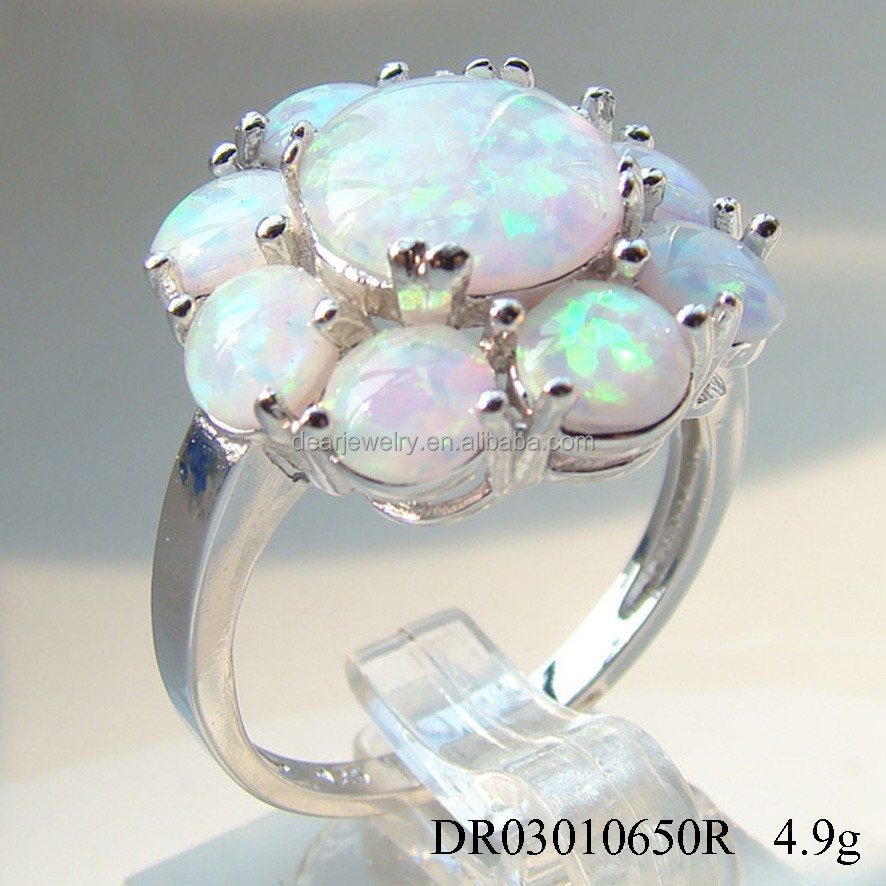 New Arrival 925 Sterling Silver Ocean Opal Jewelry, White Opal Ring