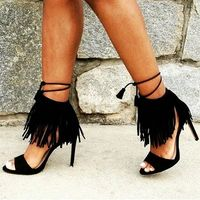2018 spring fashion high-heeled sandals female Rome tassel shoes