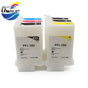 Ocinkjet PFI 102 Empty Refillable Ink Cartridge With Chip For Canon iPF 500 510 600 610 700 710 605 650 655 750 755 760 Printer
