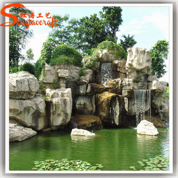 Made In China Cheap Fiberglass Marble Stone Rock Fountains And Artificial Waterfalls  Outdoor Water Curtain Waterfall