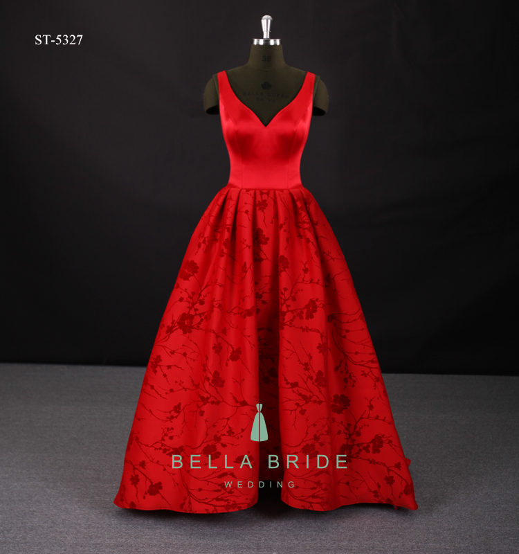7e87a7f4cd0 Red flocking high low dresses prom ball gown party dresses women long frock  design evening dress for ladies