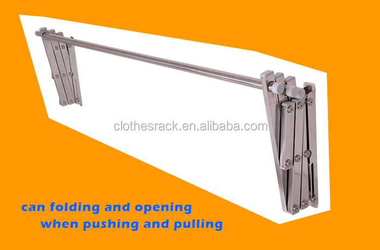 Aluminum Wall Mounted Clothes Hanger Rack Metal Folding Laundry