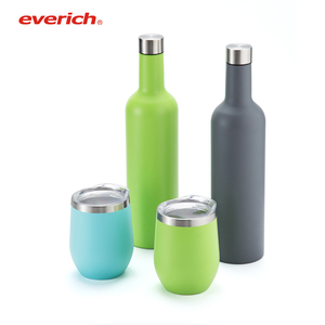 Wine Glass Tumbler Cups and Wine Bottle Set Stainless Steel Double Wall Hot Selling for Family