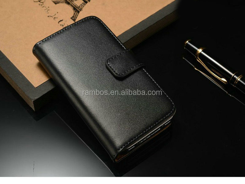 <strong>Genuine</strong> Leather <strong>Cover</strong> for <strong>iPhone</strong> 4S <strong>4G</strong> Flip Case Wallet Design with Stand Function
